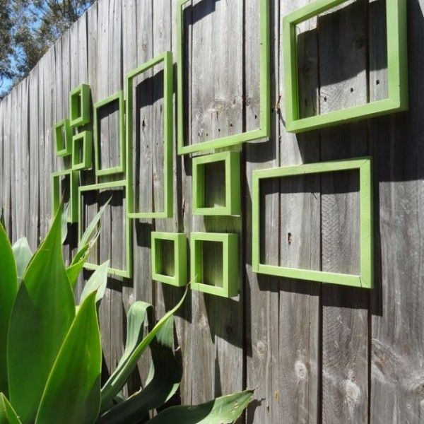 Superior Artistic Outdoor Wall Art In The Patio: Naturally Outdoor Wall Art Design  With Green Square Decoration In Wooden Wall Fence Decoration For  Inspiration Home ...