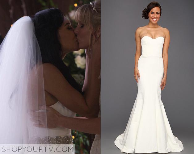 Glee: Season 6 Episode 8 Santana\'s Strapless Wedding Dress   Glee ...
