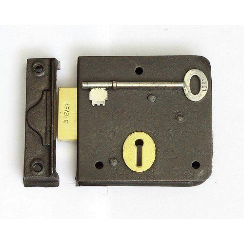 A good quality iron rim deadlock from the Union lock company