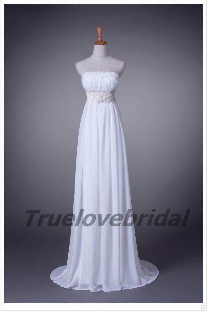 ******************************New A Line White Strapless Wedding Dress Bridal gown Custom Size #Handmade