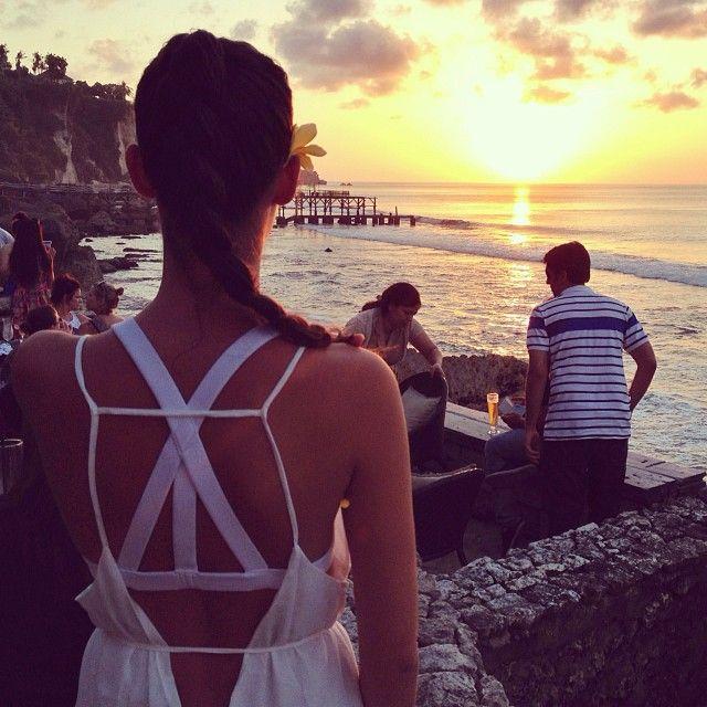 .@Yiota Tzalavra | A glorious sunset at #Rockbar #Bali wearing my favourite @Sabo Skirt dress