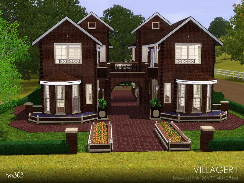 A Tiny Condo For In Town Living A Single Residence Set Up As Two Separate Apartments The Villager I Is A Brownstone Styl Sims House Sims Freeplay Houses Sims