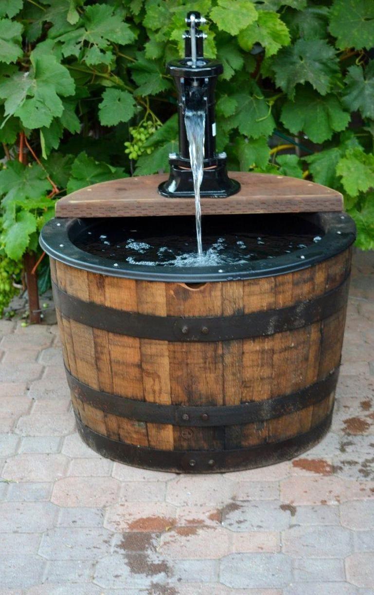 12 Whiskey Barrel Fountain Old Fashion Water Pump Etsy In 2020 Whiskey Barrel Fountain Barrel Fountain Whiskey Barrel