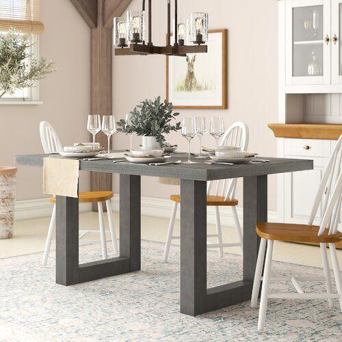 Esstisch Upper Strode Brayden Studio Farbe (Gestell): Braun, Farbe (Tischplatte): Grau, Größe: 75 cm H x 138 cm B x 90 cm T