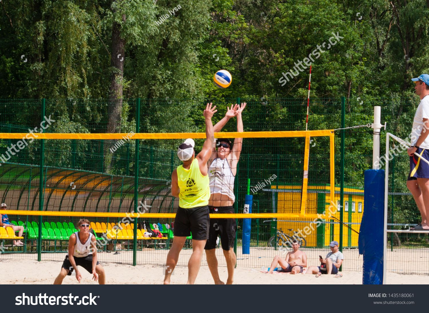 Ukraine Chernigov June 9 2019 Beach Volleyball Championship Of The City Beautiful Young Sports Strong Men Play Vol In 2020 Play Volleyball Sports Beach Volleyball