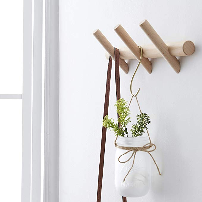 Amazon Com Homeamy Wood Coat Rack Modern Wall Mounted Hat And