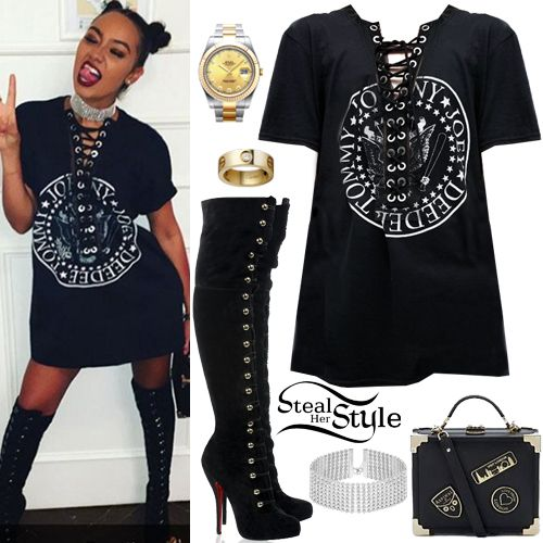 98b2c902a0 Leigh-Anne Pinnock posted a picture on instagram yesterday wearing an ASOS  Reclaimed Vintage Ramones Band T-Shirt With Front Lace Up ( 67.65)