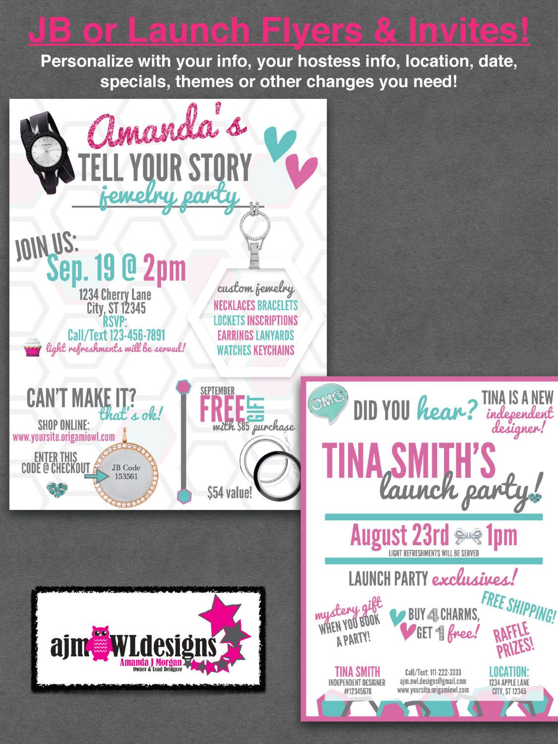 Flyers Invites Launch Party Or Jb Personalized Origami Owl