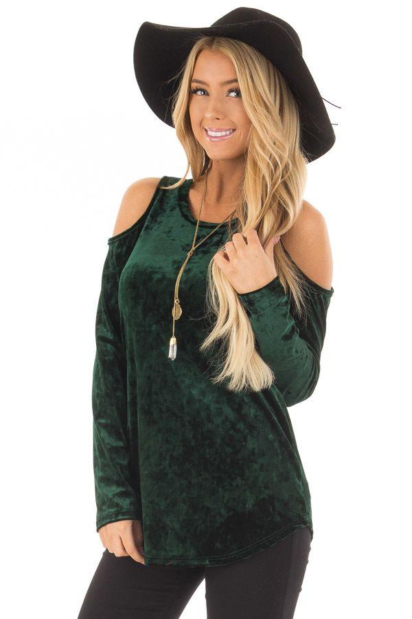 Hunter Green Crushed Velvet Cold Shoulder Long Sleeve Top