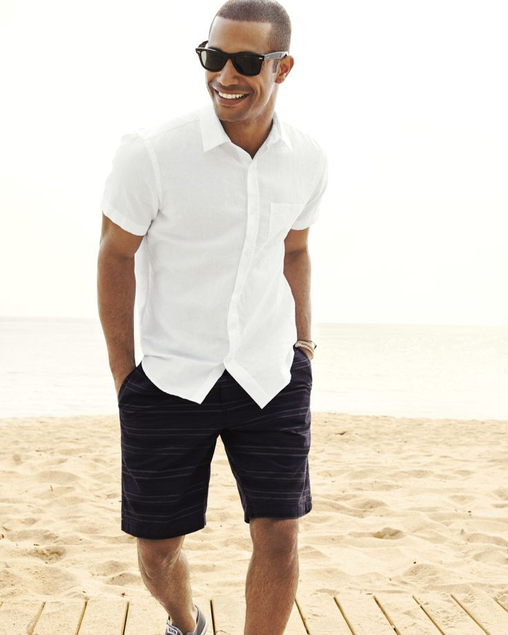 Men's White Short Sleeve Shirt, Black Horizontal Striped Shorts ...