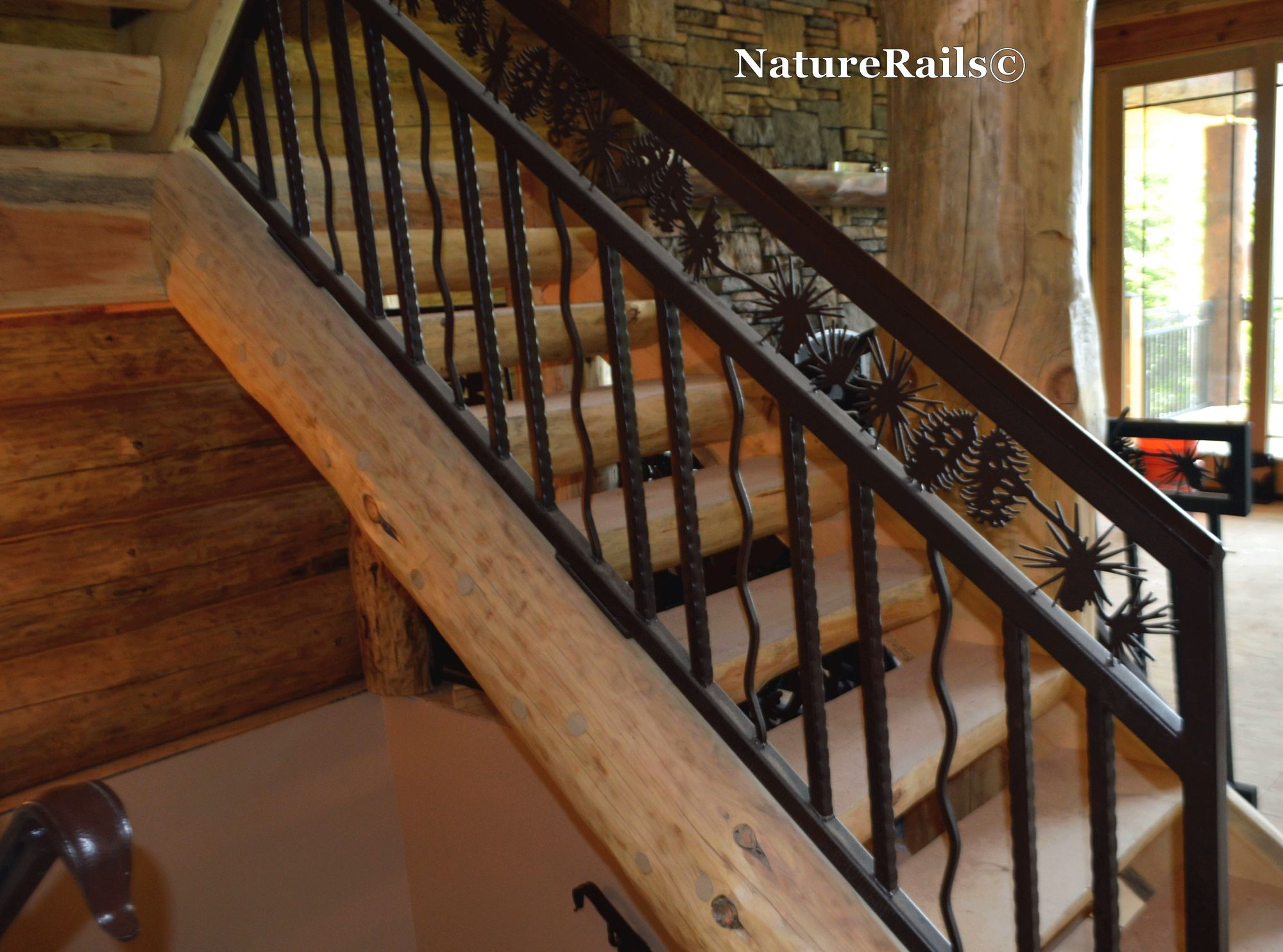 Custom Stair #Railing With Spindles And Pine Cone Border Powder