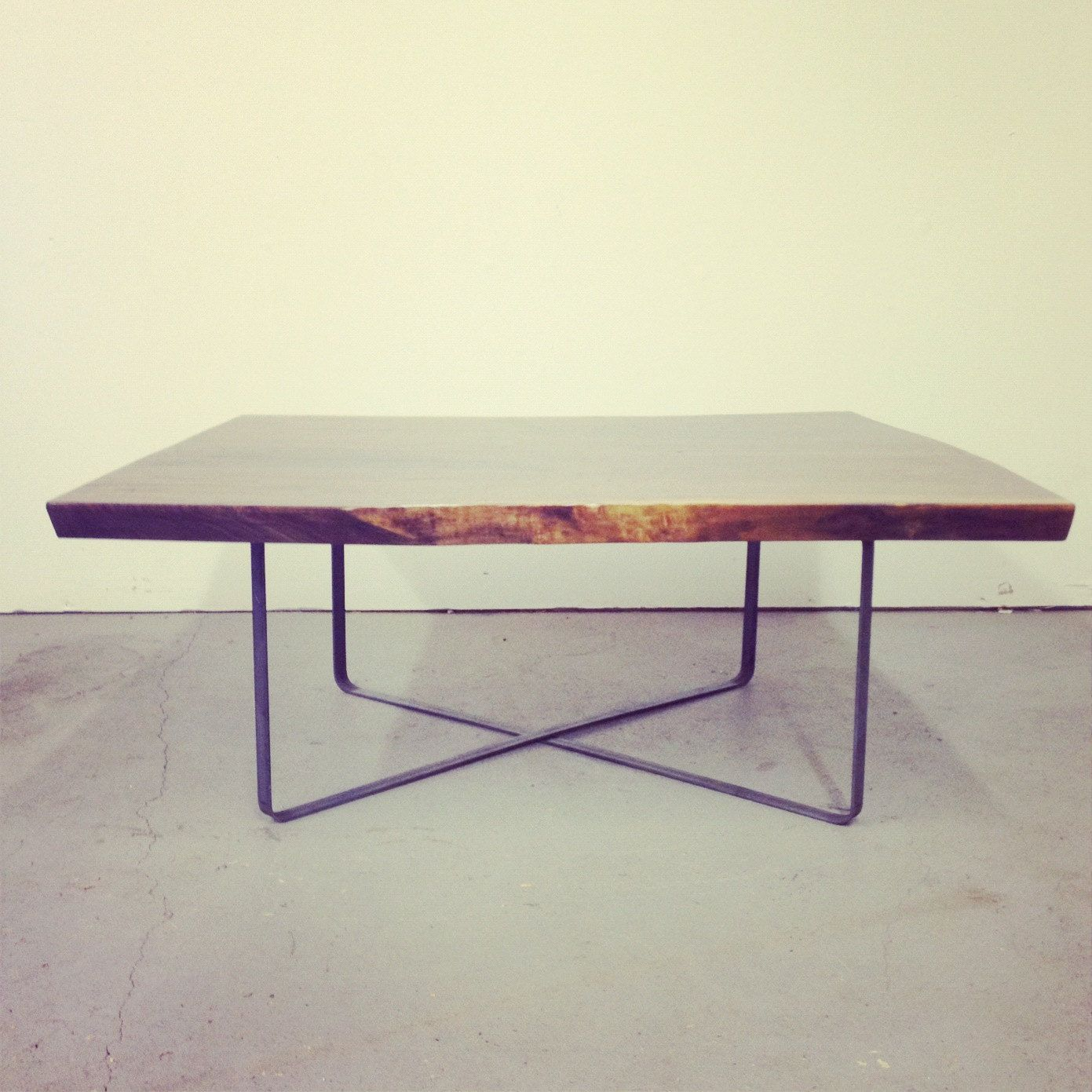 Live Edge Square Coffee Table: Live Egde Walnut Slab W/Steel X Base