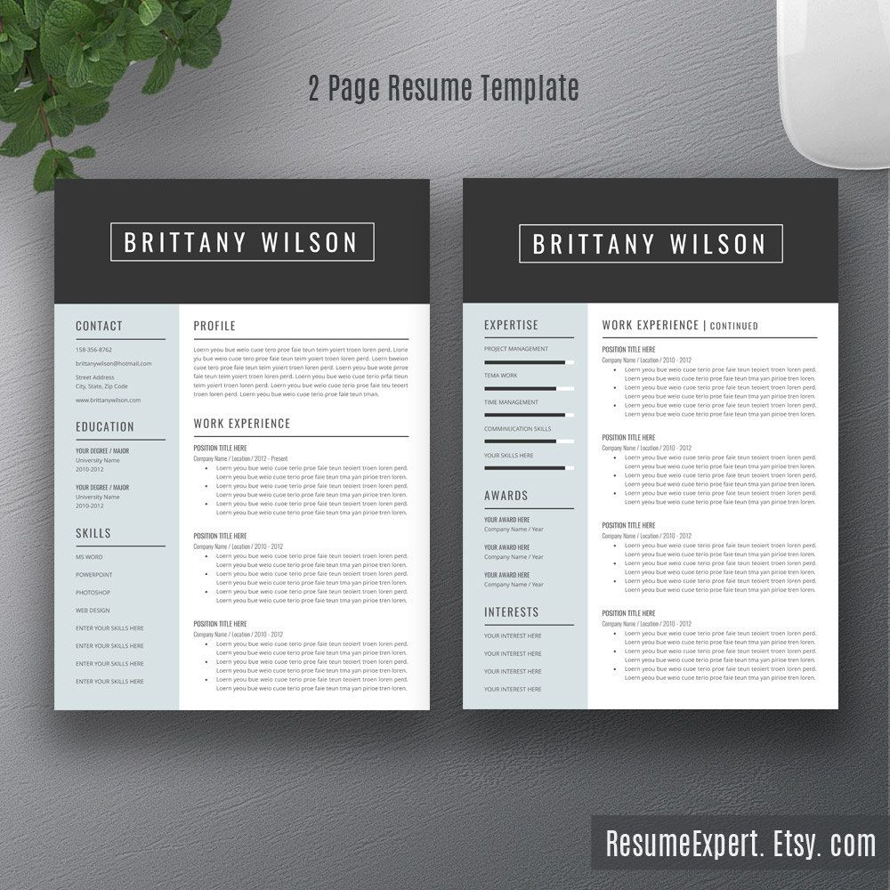 Professional Resume Template Cover Letter / CV by ResumeExpert ...