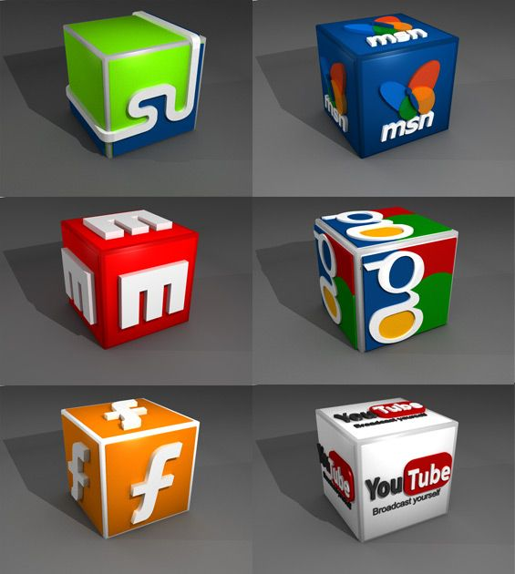 Free 3D social media icon set #2