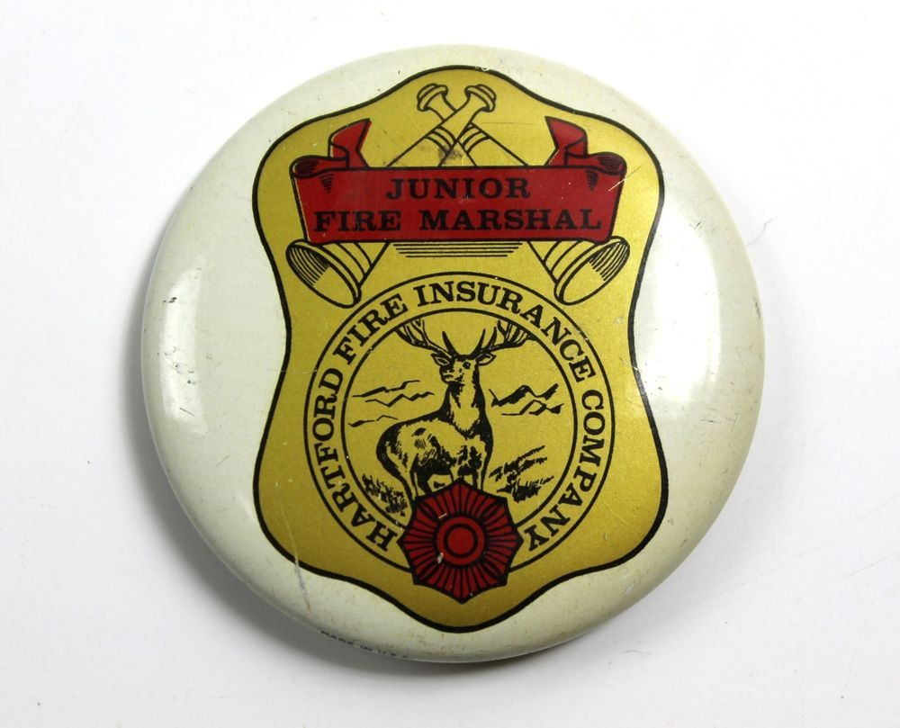 Vintage Button Pinback Junior Fire Marshal Badge Hartford Fire