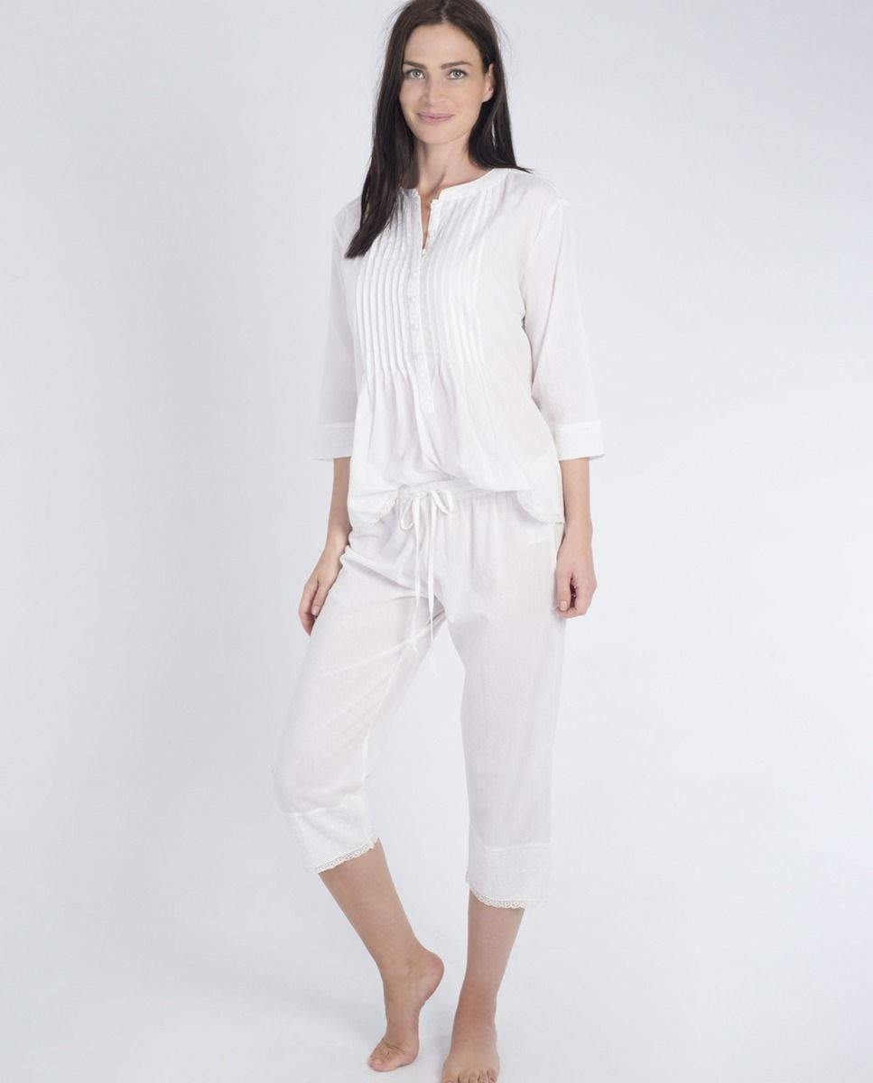 b9adc9faf Pijama de mujer MASSANA pirata blanco - Pijama mujer de tela de algodón  blanco con manga