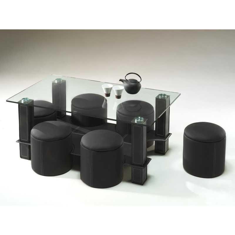 Table Basse En Verre Avec 6 Poufs En Simili Cuir Noir Table Basse Verre Table Basse Table Basse Design