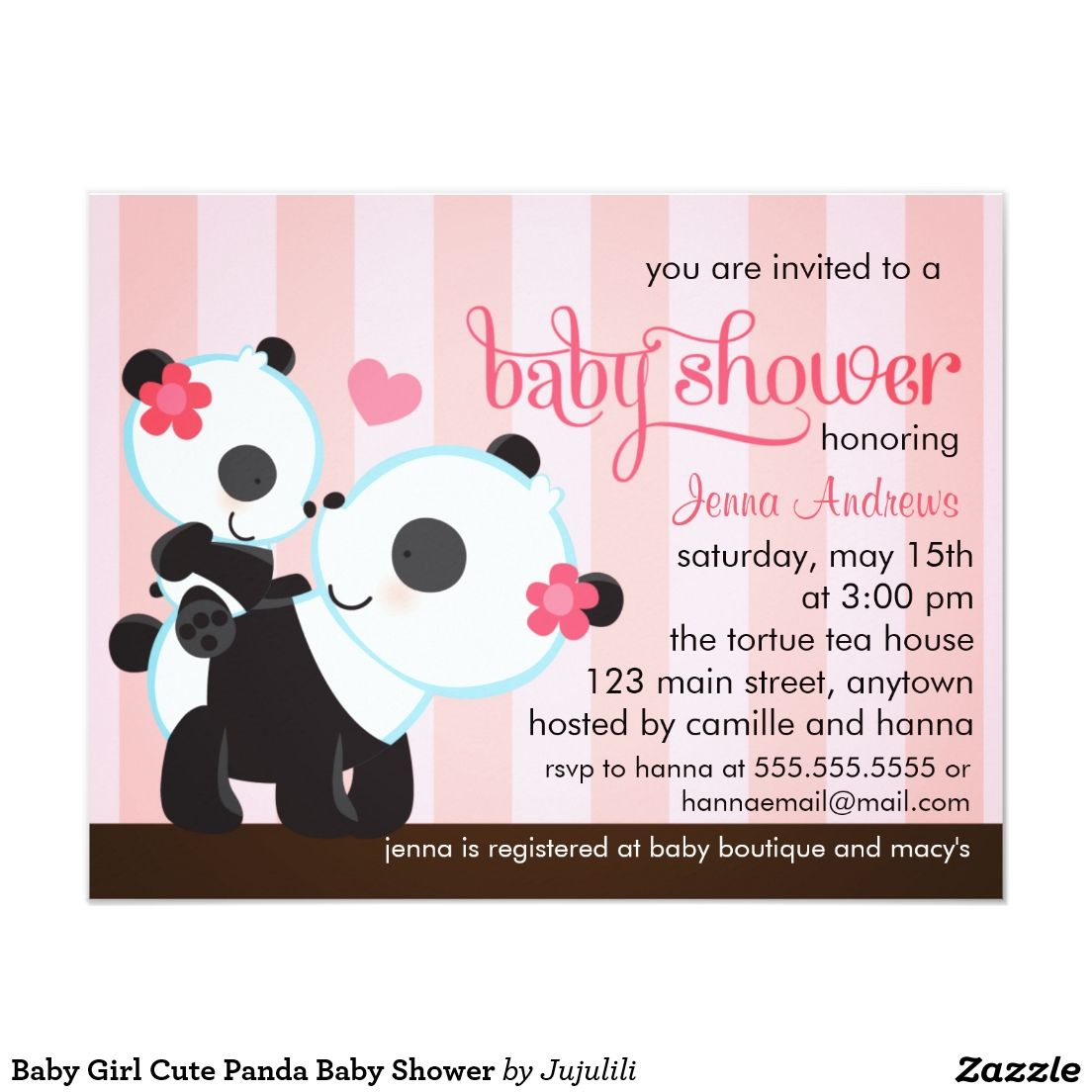 Baby Girl Cute Panda Baby Shower 4.25x5.5 Paper Invitation Card ...