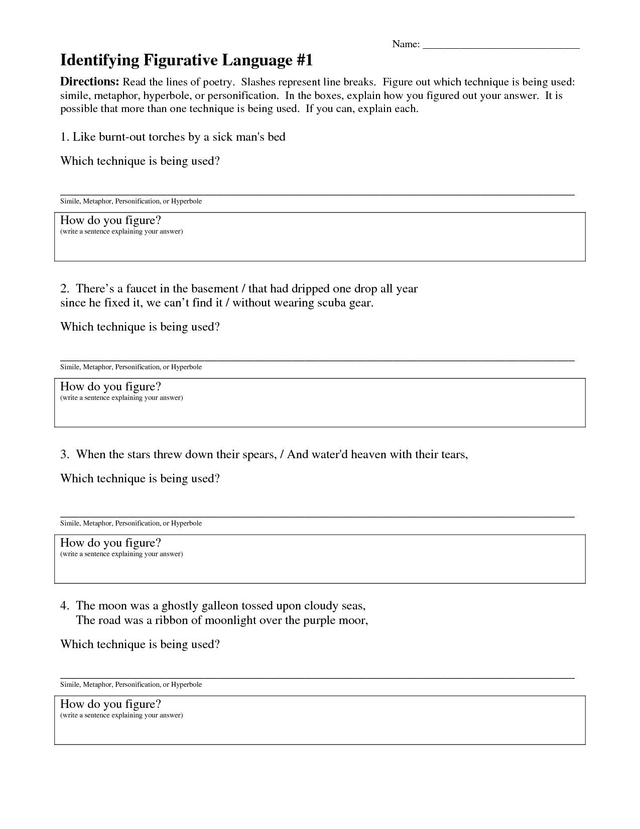 Figurative Language Worksheet Middle School In