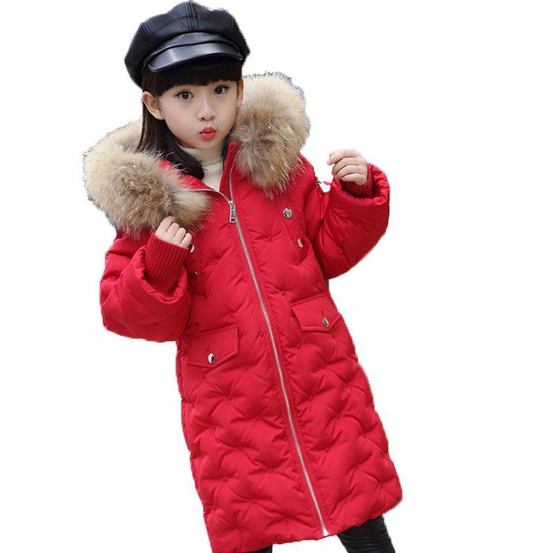 Winter Child Hooded Duck Down Parka Boy Girl Coat Warm Fur Long Jackets Overcoat