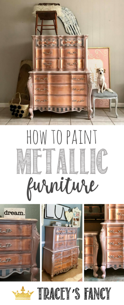 How To Paint Rose Gold Metallic Furniture Tracey S Fancy Metallic Painted Furniture Metal Furniture Colorful Furniture