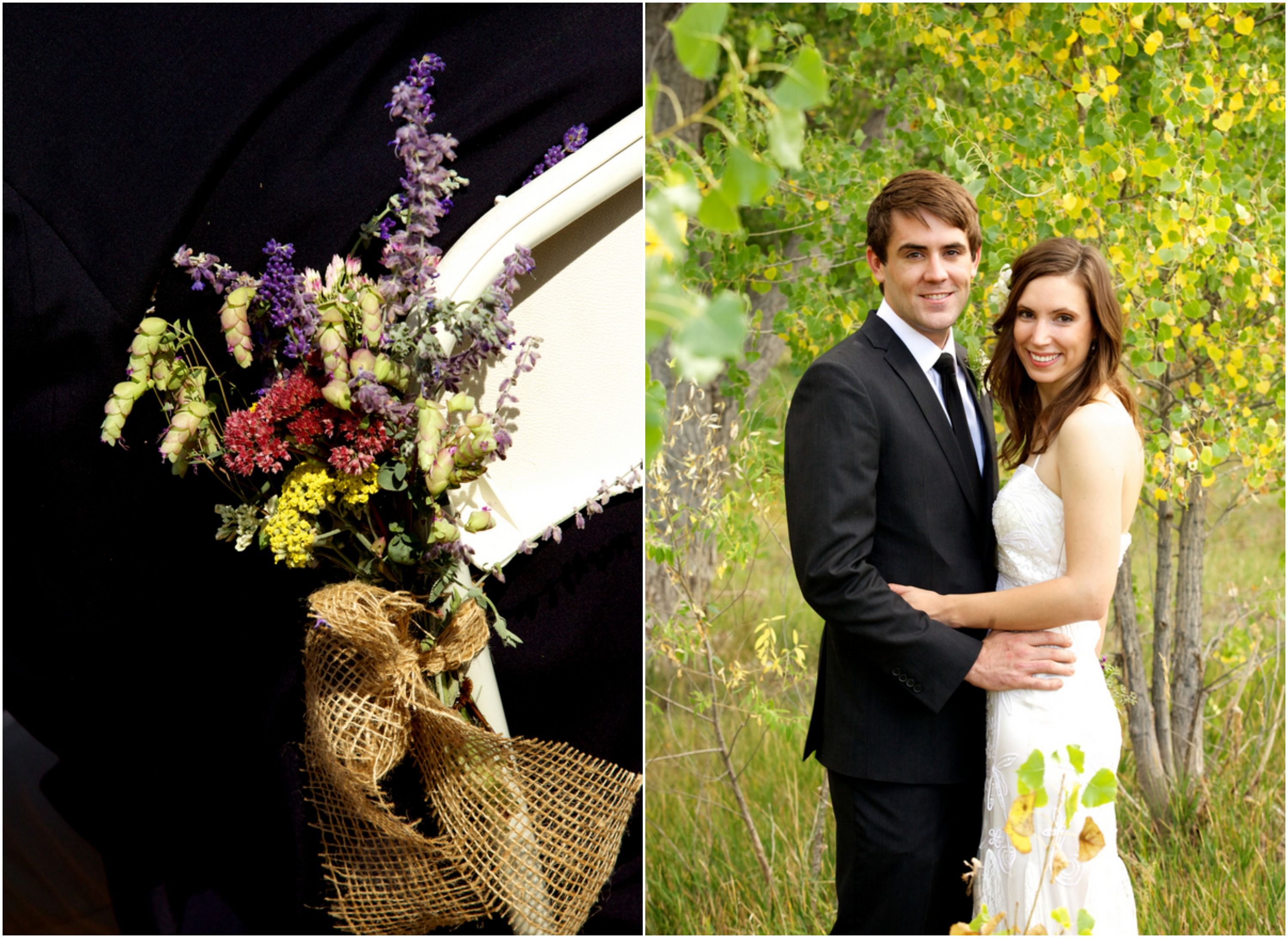 Love the burlap and flowers tied to the chairs- easy DIY