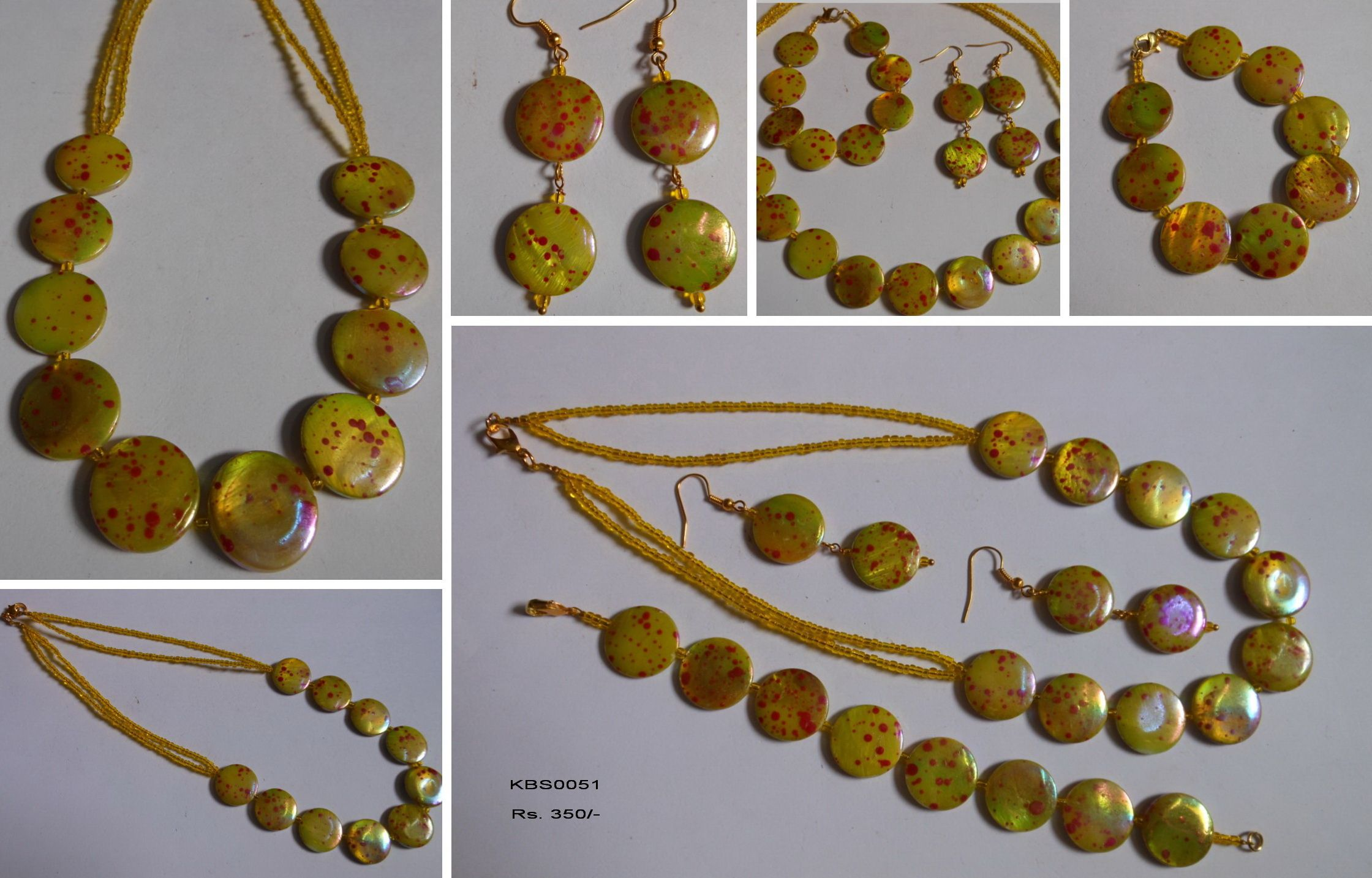 Yellow & Red Shell Beads Set Set consists of Chain, Earrings & Bracelet