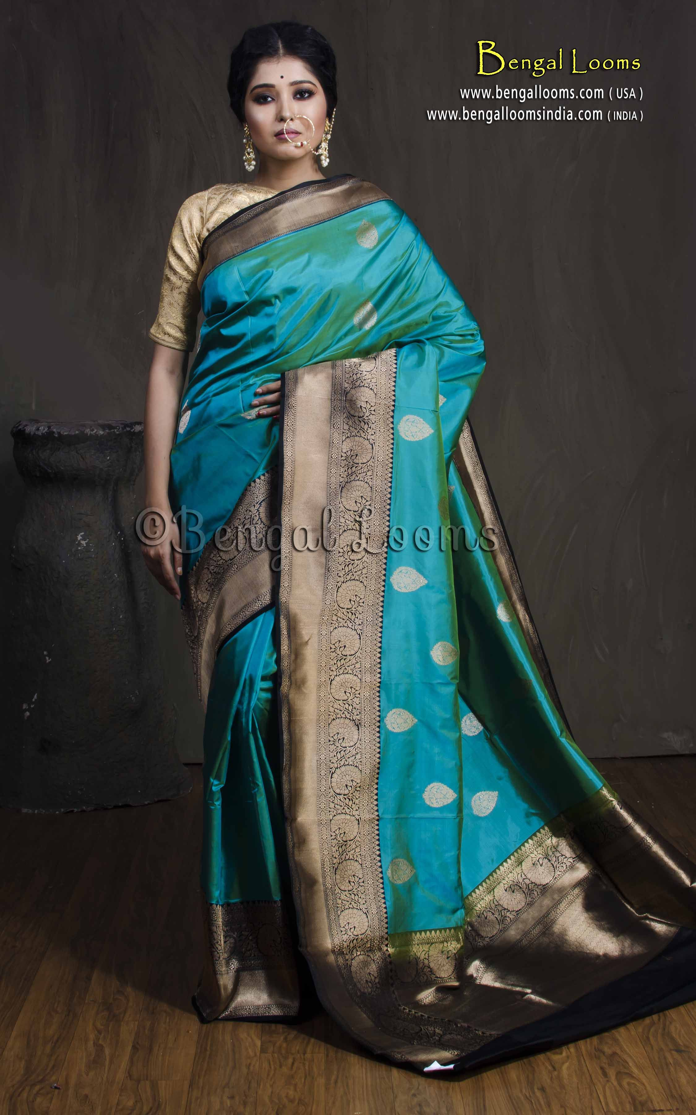 3cdb735446d8ed Pure Katan Silk Banarasi Saree in Sea Green and Black