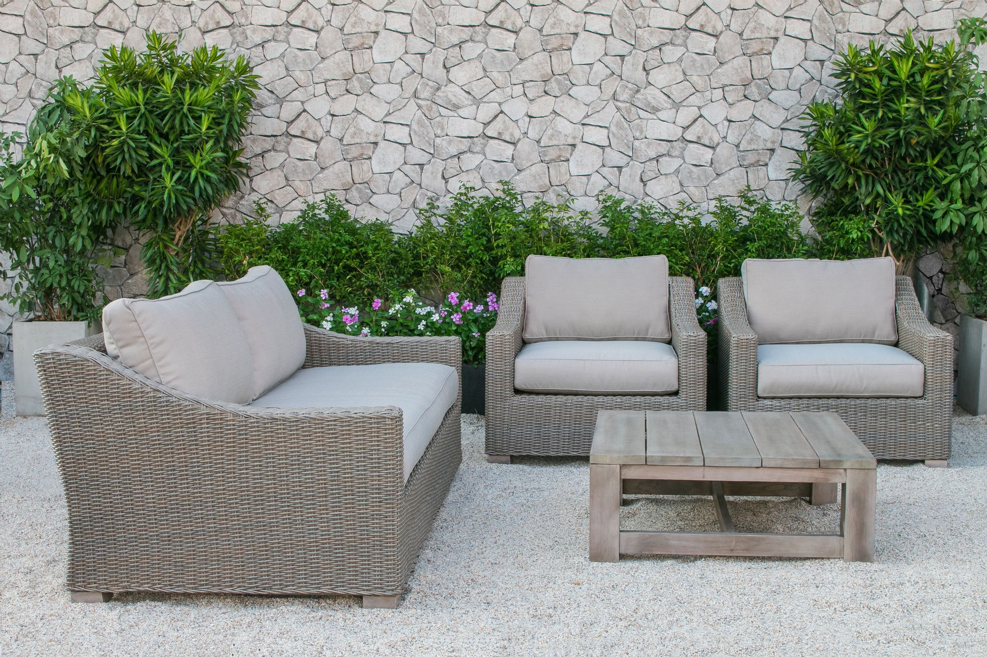 Mound Outdoor Wicker 4 Piece Deep Seating Group with Cushion