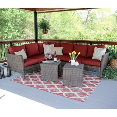 Exceptionnel Leisure Made Canton 6 Piece Sectional Patio Furniture Set In Red