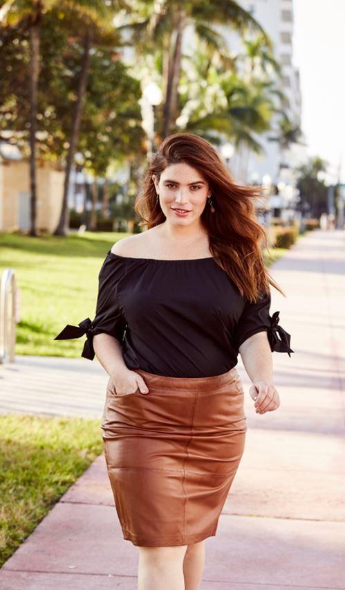 dénudée femme taille en noir cuir épaules grande Top marron mode Castaluna jupe an7URxwwq
