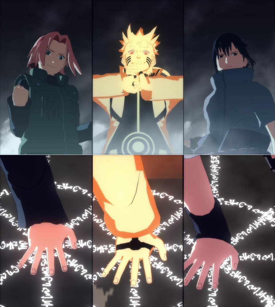 Naruto, Sakura, And Sasuke Triple Summon. Ultimate Jutsu