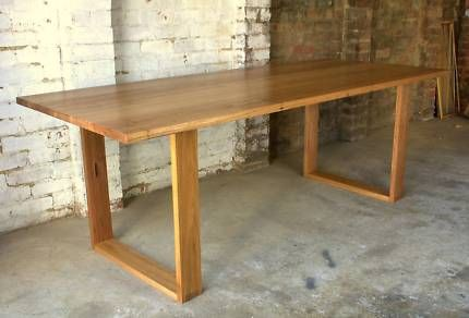 HANDMADE RECYCLED SQUARE FRAME TIMBER BOX LEG DINING TABLE Dining