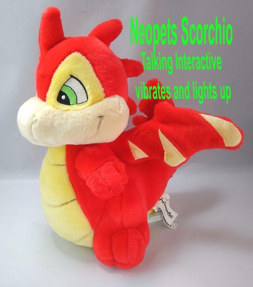 Sold Neopets Scorchio Stuffed Red Dragon Light Up Talking Interactive Thinkwaytoys Dragon Light Dinosaur Stuffed Animal Red Dragon