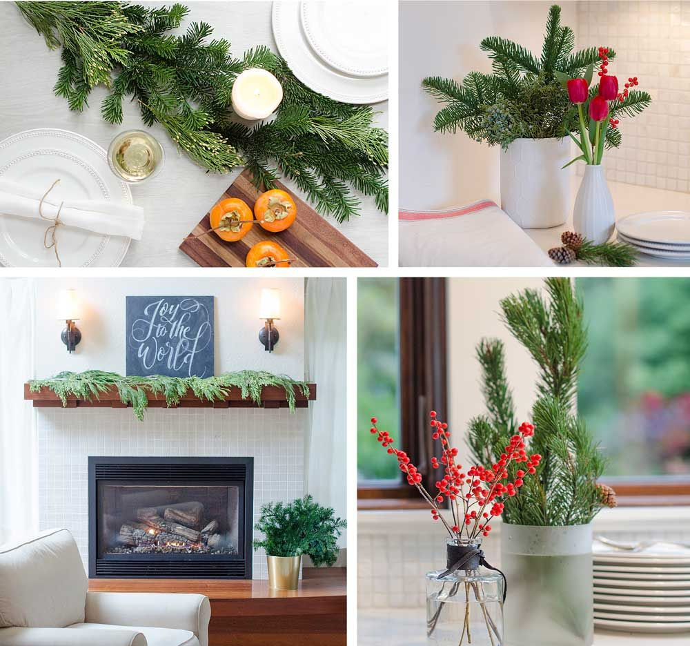 A few sprigs of seasonal greens add the perfect holiday touch   #Christmas #christmasDecor #Greens #PlantLady #HolidayDecor #RedBerries #ChristmasBerries #Ilex #SustainablyGrown #SunValley #SunValleyFloralFarms #Evergreens
