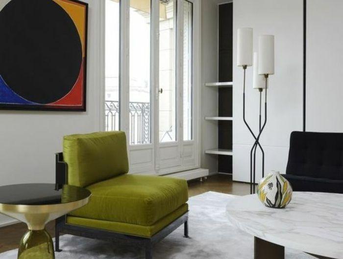 amenagement salon, deco salon design avec des meubles en vert olive ...
