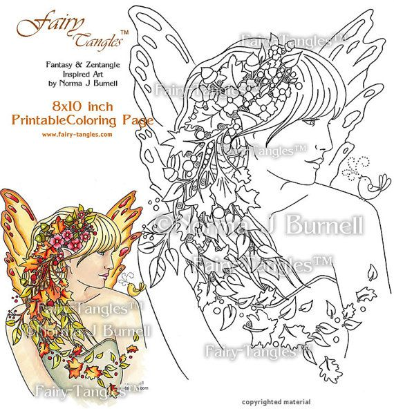 Autumn Fairy Printable Coloring book Sheets by Norma J Burnell