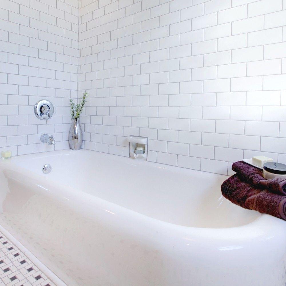Smooth White Gloss Wall Tiles Retro Metro Tiles 200x100x5mm Tiles ...