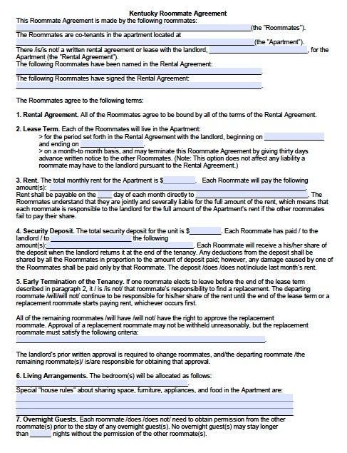 Free Kentucky Sublease\/Roommate Agreement Form u2013 PDF Template - partnership agreement form