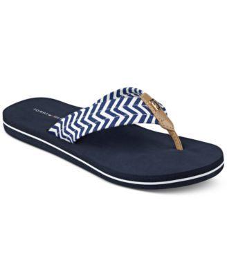 Tommy Hilfiger Chill Flip Flops In Blue Modesens Chevron Shoes Flip Flops Tommy Hilfiger
