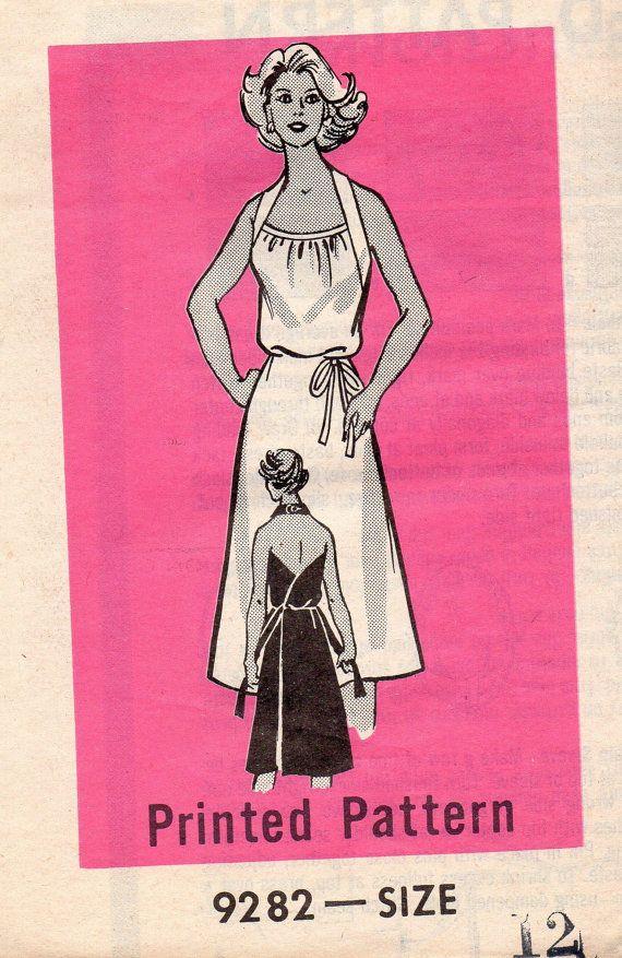 70s Retro Disco Style Classic Wrap Apron Dress Marian Martin 9282 ...