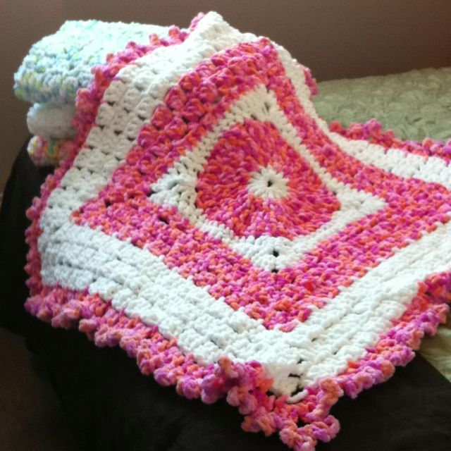 Bernat Baby Blanket Knit Patterns : Baby blankets made with Bernat baby blanket yarn these are easy and fun and I...