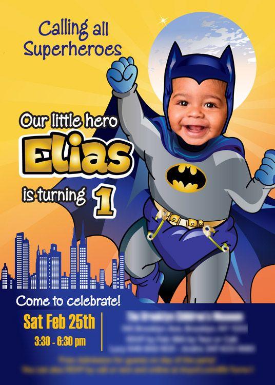 baby batman 1st birthday invitation
