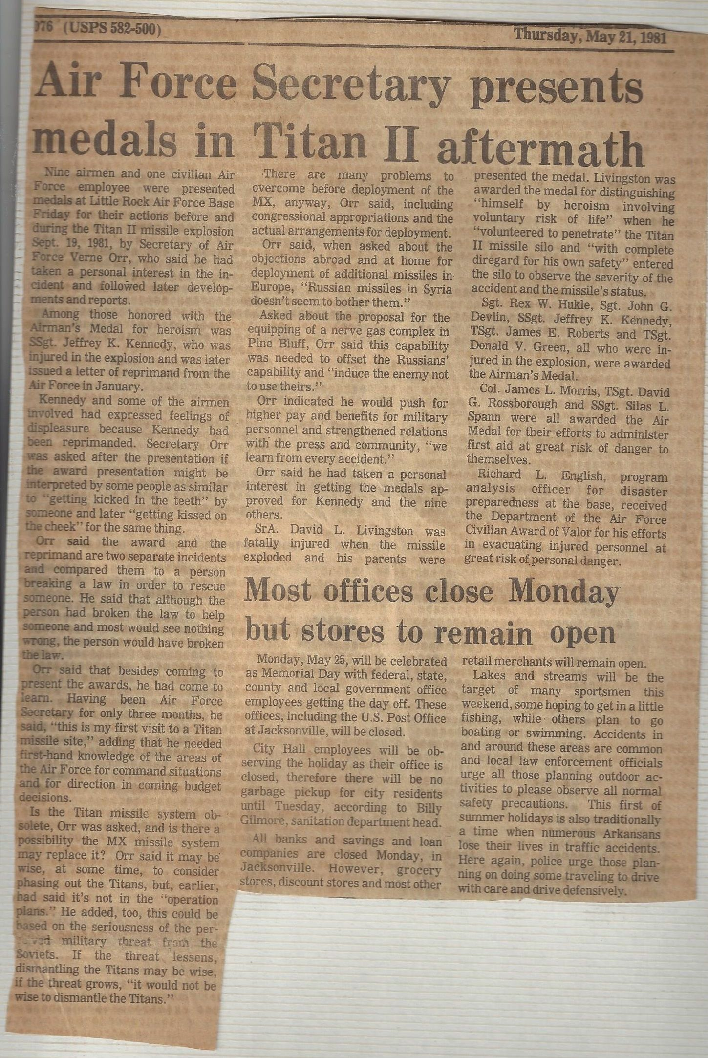 Arkansas Gazette News Article regarding the AIRMAN'S