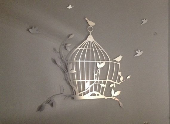 Birdcage and Flying Birds Metal Wall Art Metal by INSPIREMEtals ...