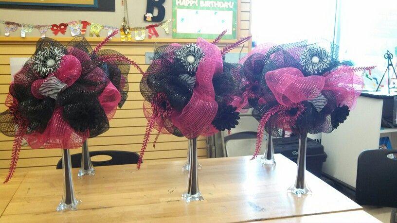 Deco mesh centerpiece sweet 16 birthday michaels craft ny for Michaels crafts birthday parties