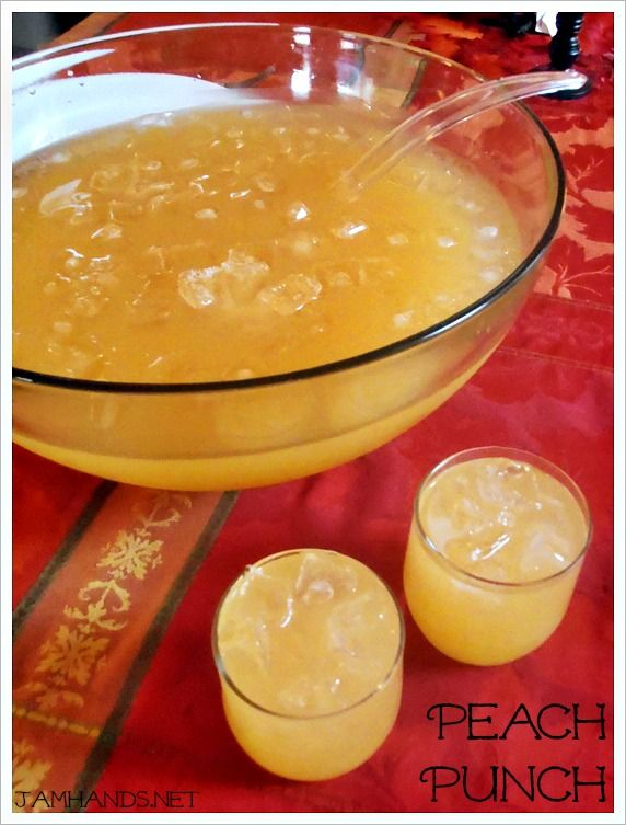 Peach Punch: Sprite, pineapple juice, and white grape peach juice. Freeze extra pineapple juice into ice cubes for the bowl!