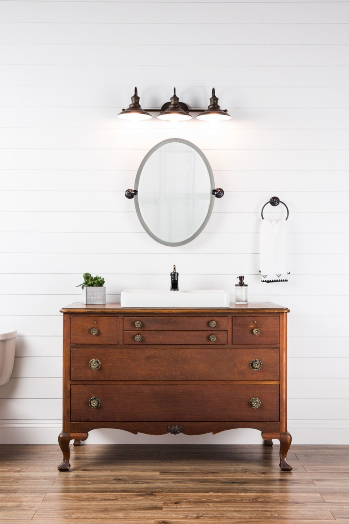 Bring modern farmhouse style into your guest bathroom with