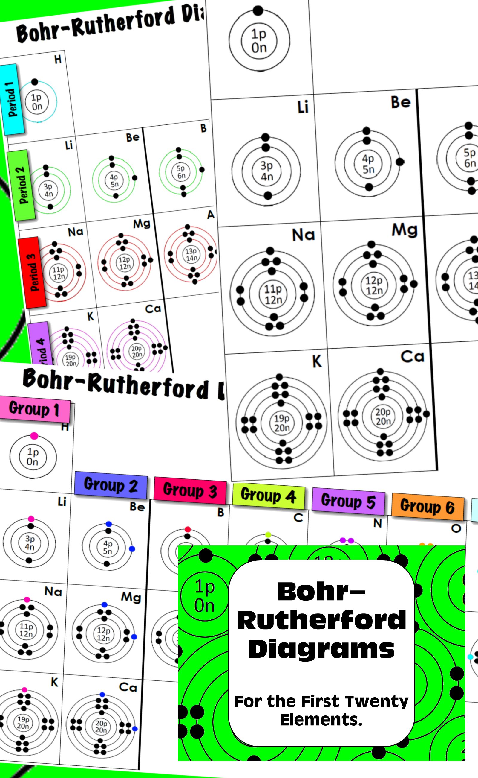 hight resolution of bohr rutherford diagrams for first twenty elements student graphical organizer color coded answers elements periodictable bohr rutherford chemistry