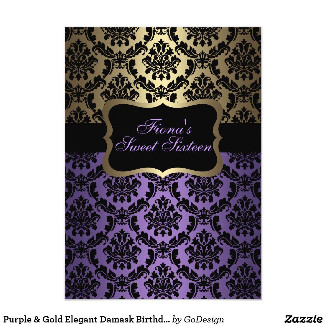 Purple & Gold Elegant Damask Birthday Invite | Sixteenth birthday ...